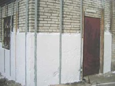 Наружная теплоизоляция юнипором кирпичных стен.